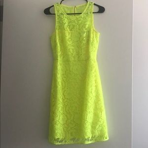 Lemon yellow lace dress